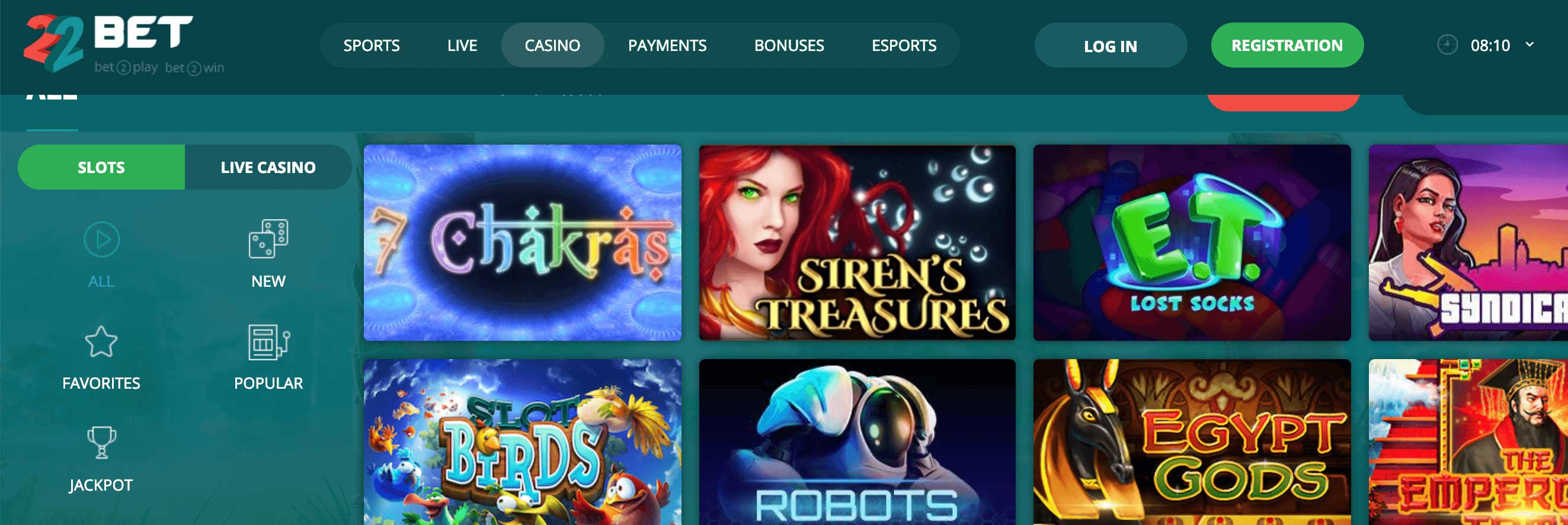 Casino games at 22bet